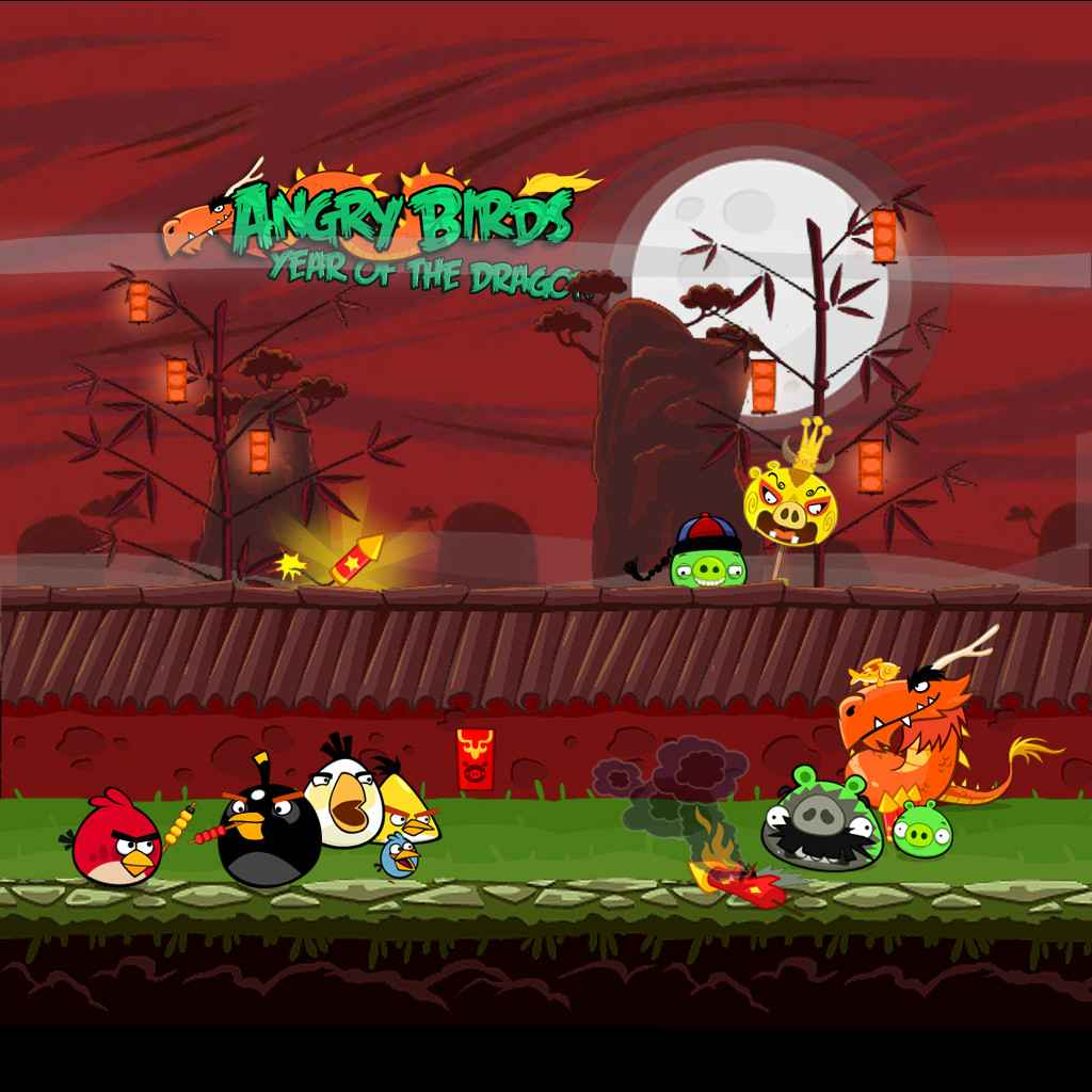 Angry Birds Seasons Year of the Dragon iPad Background 1024x1024